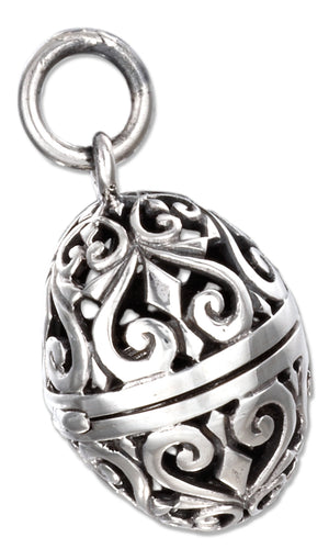 Sterling Silver Antiqued Filigree Egg Locket