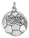 "Sterling Silver Antiqued Soccer Ball with ""Soccer Mom"" Charm"