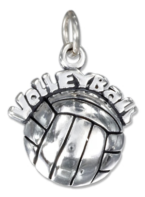 "Sterling Silver Antiqued ""Volleyball"" Charm on Top Of a Volleyball"