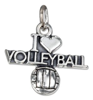 "Sterling Silver Antiqued ""I Heart Volleyball"" Charm with a Volleyball"