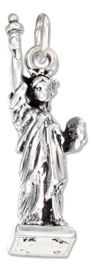 Sterling Silver Antiqued Three Dimensional Statue Of Liberty Charm