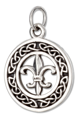 Sterling Silver Celtic Fleur-de-lis Charm in 15mm Round Wreath Design