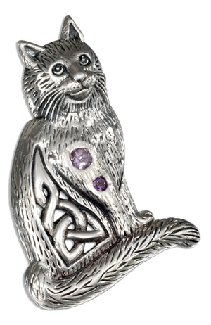 Sterling Silver Celtic Cat Pendant with Two Round Amethyst Stones