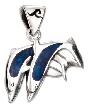 Sterling Silver Paua Shell Inlay Jumping Double Dolphin Pendant