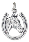 Sterling Silver Antiqued Horse Head in Horseshoe Charm