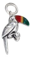 Sterling Silver Three Dimensional Toucan Charm with Simulated Stone Beak