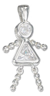 Sterling Silver April Clear Cubic Zirconia Birthstone Girl Pendant