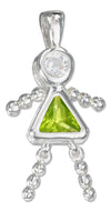 Sterling Silver August Light Green Cubic Zirconia Birthstone Girl Pendant