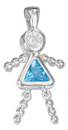 Sterling Silver December Aqua Blue Cubic Zirconia Birthstone Girl Pendant
