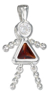 Sterling Silver January Red Cubic Zirconia Birthstone Girl Pendant