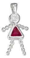Sterling Silver July Bright Red Cubic Zirconia Birthstone Girl Pendant