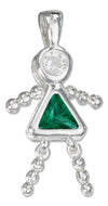 Sterling Silver May Green Cubic Zirconia Birthstone Girl Pendant