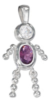 Sterling Silver February Purple Cubic Zirconia Birthstone Boy Pendant