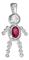 Sterling Silver July Bright Red Cubic Zirconia Birthstone Boy Pendant