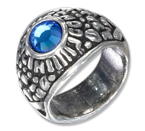 Sterling Silver Small High School Ring Charm with Blue Crystal