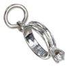 Sterling Silver Birthstone Ring Charm with April Clear Cubic Zirconia