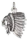 Sterling Silver Side View Indian Chief Charm