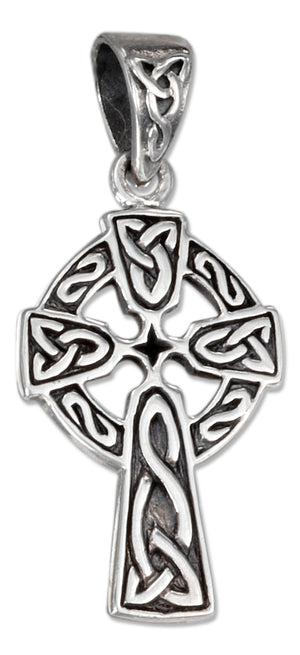 Sterling Silver Antiqued Celtic Cross Pendant with Trinity Knots