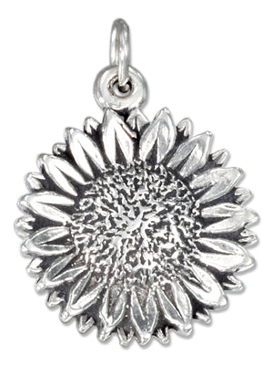 Sterling Silver Antiqued Sunflower Charm