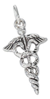 Sterling Silver Antiqued Caduceus Charm