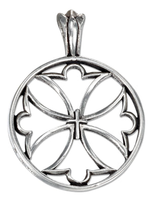 Sterling Silver Round Open Maltese Cross Pendant with Center Cross