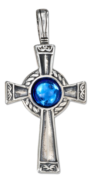 Sterling Silver Antiqued Cross Pendant with Blue Crystal