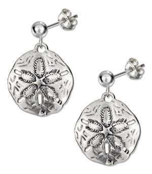 Sterling Silver Antiqued Sand Dollar Earrings on Posts