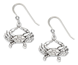 Sterling Silver Dangling Crab Earrings on French Wires