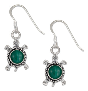 Sterling Silver Antiqued Simulated Malachite Turtle Earrings on French Wires
