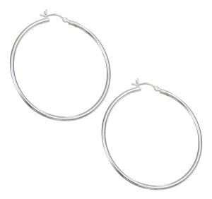 Sterling Silver 50mm Thin Tubular Hoop Earrings
