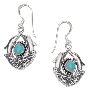 Sterling Silver Double Dolphin Earrings with Simulated Turquoise on French Wires