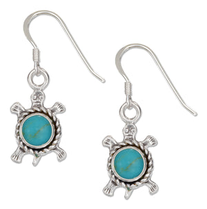 Sterling Silver Antiqued Simulated Turquoise Turtle Earrings with French Wires