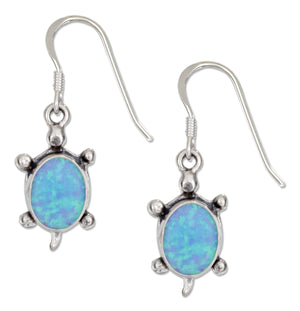 Sterling Silver Synthetic Blue Opal Turtle Earrings on French Wires