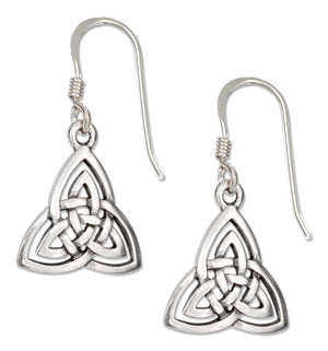 Sterling Silver Celtic Trinity Knot Earrings on French Wires