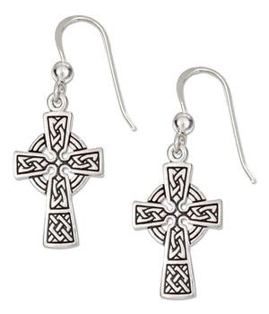 Sterling Silver Antiqued Celtic Cross Earrings on French Wires