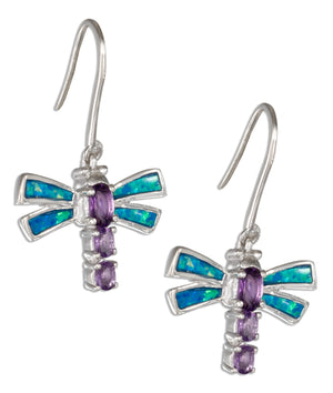 Sterling Silver Purple Cubic Zirconia and Synthetic Blue Opal Dragonfly Earrings