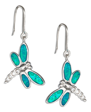 Sterling Silver Cubic Zirconia and Synthetic Blue Opal Dragonfly Earrings