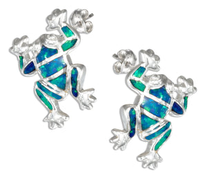 Sterling Silver Synthetic Blue Opal Frog Earrings