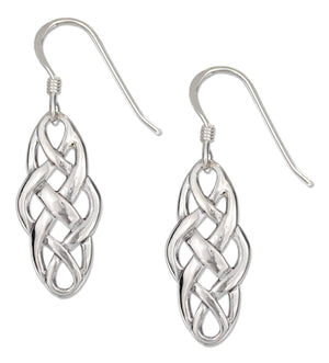 Sterling Silver Elongated Celtic Weave Earrings on French Wires