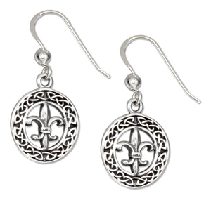 Sterling Silver Celtic Fleur-de-lis Round Wreath Earrings