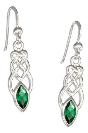 Sterling Silver Elongated Celtic Knot Earrings with Green Glass