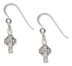Sterling Silver Small Antiqued Celtic Cross French Wire Earrings