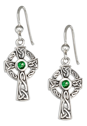 Sterling Silver Antiqued Celtic Cross Earrings with Green Glass