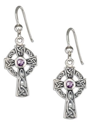 Sterling Silver Antiqued Celtic Cross Earrings with Amethyst Stone and French Wires
