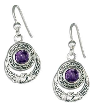 Sterling Silver Celtic Claddagh Earrings with Amethyst on French Wires
