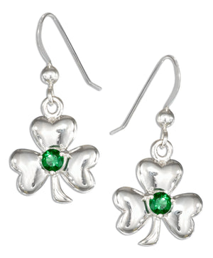 Sterling Silver Celtic Shamrock Earrings with Green Glass Stone