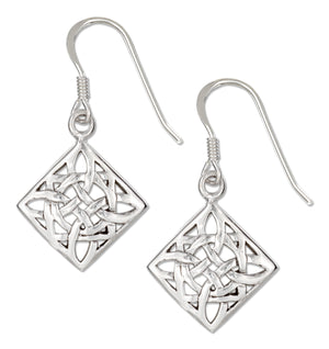 Sterling Silver Diamond-shape Celtic Scroll Design Earrings on French Wires
