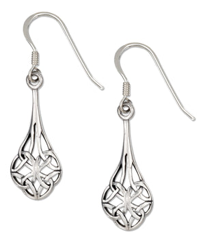 Sterling Silver Open Scrolled Celtic Teardrop Earrings on French Wires