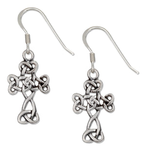 Sterling Silver Antiqued Scrolled Celtic Cross Earrings on French Wires
