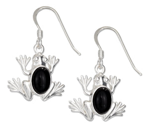 Sterling Silver High Polish Frog Earrings with Simulated Onyx Cabochons